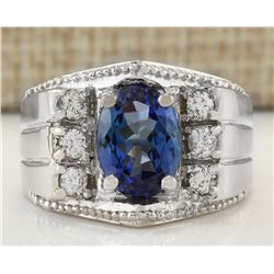 4.62 CTW Natural Mens Tanzanite And Diamond Ring In 14K White Gold