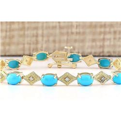 5.31 CTW Natural Turquoise And Diamond Bracelet In 14k Yellow Gold