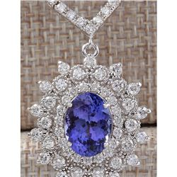 8.69 CTW Natural Tanzanite And Diamond Necklace In 14K White Gold