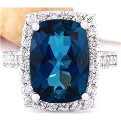 7.90 CTW Natural Topaz 18K Solid White Gold Diamond Ring