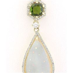 8.39 CTW Natural Opal Tsavorite Diamond Pendant In 14k Solid Yellow Gold