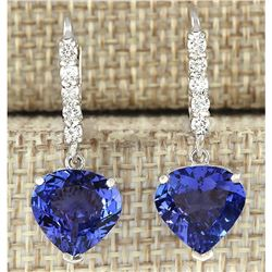 6.85 CTW Natural Tanzanite And Diamond Earrings 18K Solid White Gold