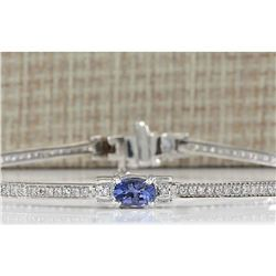 3.75CTW Natural Tanzanite And Diamond Bracelet In 14K Solid White Gold