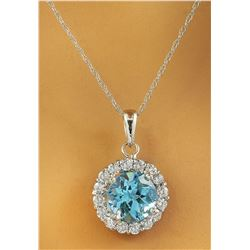 1.82 CTW Topaz 18K White Gold Diamond Necklace