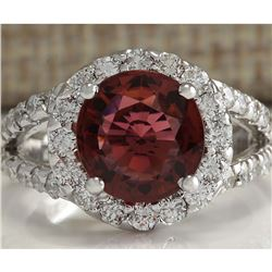 4.35 CTW Natural Pink Tourmaline And Diamond Ring 18K Solid White Gold