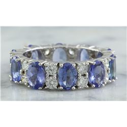 6.94 CTW Tanzanite 14K White Gold Diamond Ring