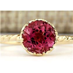 1.50 CTW Natural Pink Tourmaline Ring In 18K Yellow Gold