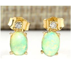 1.60 CTW Natural Opal And Diamond Earrings 18K Solid Yellow Gold