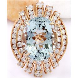 10.51 CTW Natural Aquamarine 14K Solid Rose Gold Diamond Ring