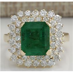 5.51 CTW Natural Emerald And Diamond Ring 14K Solid Yellow Gold