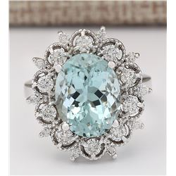 7.27 CTW Natural Aquamarine And Diamond Ring In 18K Solid White Gold