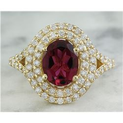 2.43 CTW Tourmaline 14K yellow Gold Diamond Ring