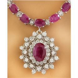 28.11 CTW Ruby 14K White Gold Diamond Necklace