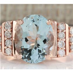 3.66 CTW Natural Aquamarine And Diamond Ring In 14K Rose Gold