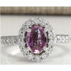 2.02 CTW Natural Pink Ceylon Sapphire Diamond Ring 18K Solid White Gold