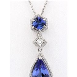 8.36 CTW Natural Tanzanite And Diamond Pendant In 18K Solid White Gold