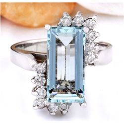 3.33 CTW Natural Aquamarine 14K Solid White Gold Diamond Ring