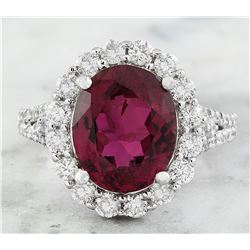 5.98 CTW Rubelite 14K White Gold Diamond Ring