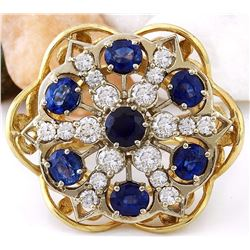 7.50 CTW Natural Sapphire 18K Solid Yellow Gold Diamond Ring