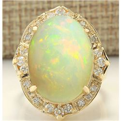 10.50 CTW Natural Opal And Diamond Ring In 14K Yellow Gold