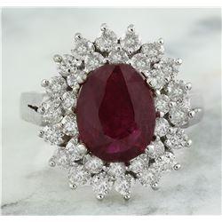 3.54 CTW Ruby 14K White Gold Diamond Ring