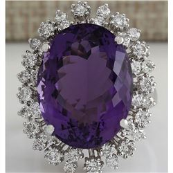 15.83 CTW Natural Amethyst And Diamond Ring In 18K Solid White Gold