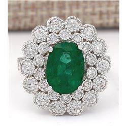 4.43 CTW Natural Emerald And Diamond Ring In 18K White Gold