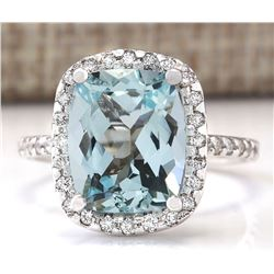4.30 CTW Natural Aquamarine And Diamond Ring In 14k Solid White Gold