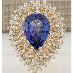 6.31 CTW Natural Tanzanite And Diamond Ring In 18K Yellow Gold