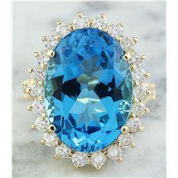 13.00 CTW Topaz 14K Yellow Gold Diamond Ring
