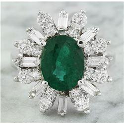 4.05 CTW Emerald 18K White Gold Diamond Ring