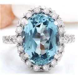 10.14 CTW Natural Aquamarine 18K Solid White Gold Diamond Ring