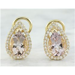 4.30 CTW Morganite 18K Yellow Gold Diamond Earrings