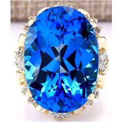 30.50 CTW Natural Topaz 18K Solid Yellow Gold Diamond Ring