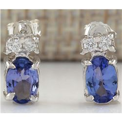 1.72 CTW Natural Tanzanite And Diamond Earrings 18K Solid White Gold