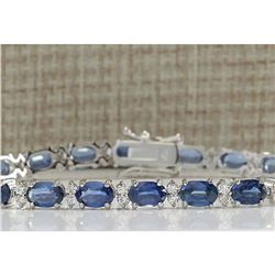 13.49CTW Natural Sapphire And Diamond Bracelet In 14K White Gold