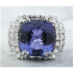 9.97 CTW Tanzanite 18K White Gold Diamond Ring
