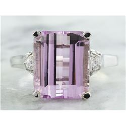 5.06 CTW Kunzite 14K White Gold Diamond Ring