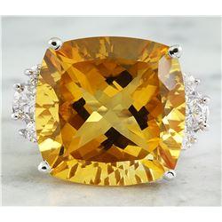 25.60 CTW Citrine 18K White Gold Diamond Ring