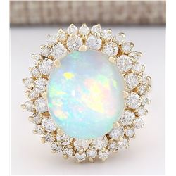 7.20 CTW Natural Opal And Diamond Ring In 18K Yellow Gold
