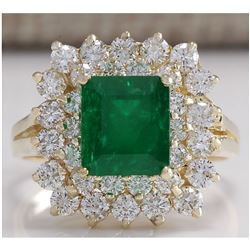2.87 CTW Natural Emerald And Diamond Ring 18K Solid Yellow Gold