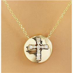 0.18 CTW Diamond 14K Yellow Gold Cross Medallion Pendant Necklace