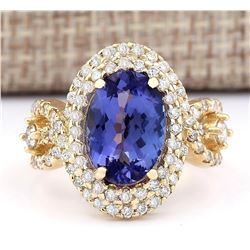 5.11 CTW Natural Tanzanite And Diamond Ring In 14k Yellow Gold