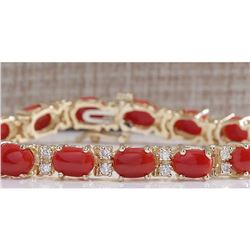 18.44 CTW Natural Red Coral And Dimond Bracelet In 14k Solid Yellow Gold