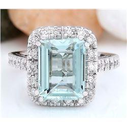 4.68 CTW Natural Aquamarine 14K Solid White Gold Diamond Ring