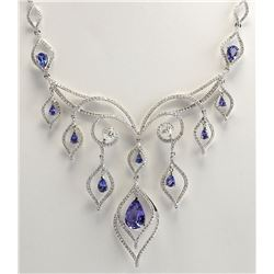 13.80 CTW Natural Tanzanite And Diamond Necklace In 18K White Gold