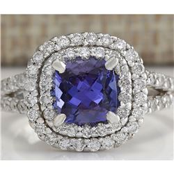2.68 CTW Natural Blue Tanzanite And Diamond Ring In 18K White Gold
