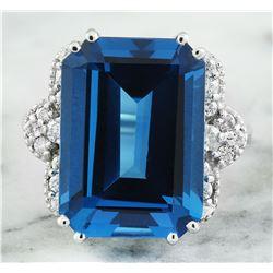 20.40 CTW Topaz 14K White Gold Diamond Ring
