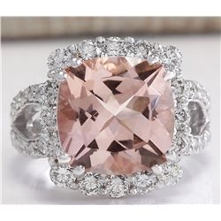 8.66 CTW Natural Peach Morganite And Diamond Ring In 18K Solid White Gold