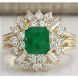 2.31 CTW Natural Emerald And Diamond Ring 18K Solid Yellow Gold